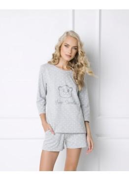 Пижама с шортами Sweet Bear серый+белый,Aruelle(Польша)