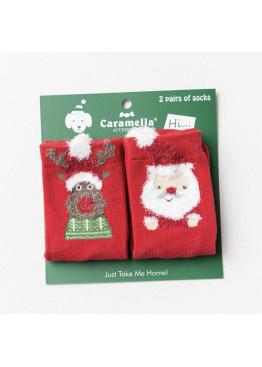 """Носки детские 60207 """"Рождественские"""" 2 пары,Caramella(Китай)"""