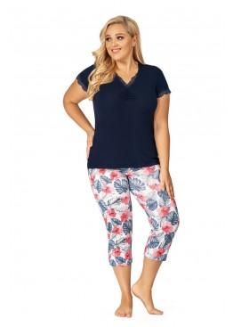 Пижама с бриджами Mila 3/4 т.синий+розовый, Donna (Польша)