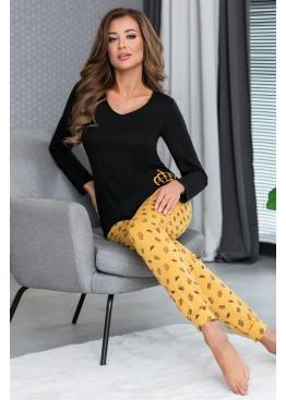 Пижама с брюками Princessa горчичный+черный, Donna (Польша)