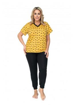 Пижама с брюками QUEEN PLUS горчичный+черный, Donna (Польша)