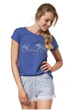 Пижама с шортами 37727 Blooming синий+белый,Esotiq(Польша)