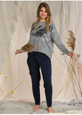 Комплект с брюками LHS 211-20/21 серый+синий, KEY (Польша)