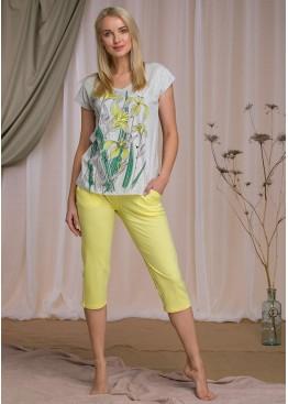Пижама с бриджами LNS 923-1 A21 серый+желтый, Key (Польша)
