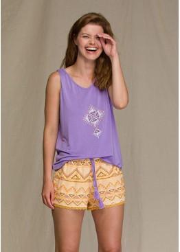 Пижама с шортами LNS-960 A21 фиолетовый+желтый, KEY (Польша)