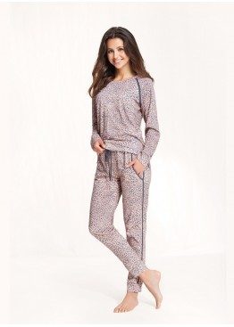 Пижама с брюками 492 розовый+серый, Luna (Польша)