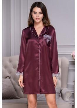 Халат-рубашка 3297 LAURA бордовый, Mia-Amore (Италия)