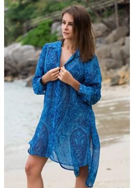 """Платье-рубашка 8257 """"Riviera""""синий,Mia-Amore(Италия)"""