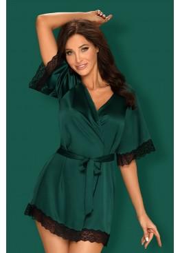 Пеньюар Sensuelia Robe черный+зеленый, Obsessive (Польша)