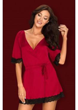 Пеньюар Sensuelia Robe красный+черный, Obsessive (Польша)