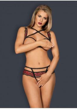 Комплект Megies Set Crotchless черный+красный,Obsessive(Польша)