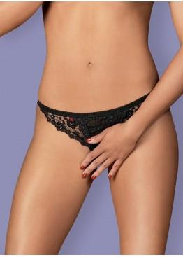 Трусики-стринги Letica Crotchless Thong черный,Obsessive(Польша)