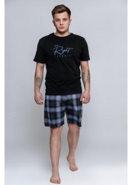 Пижама с шортами MAGNUS черный+синий, Sensis (Польша)