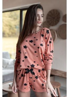 Пижама с шортами Moonlight коралл+черный, Sensis (Польша)