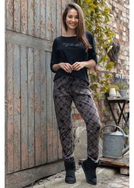 Пижама с брюками REACH FOR THE STARS черный+коричневый, Sensis (Польша)