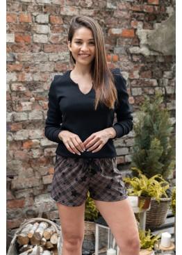 Пижама с шортами SHE черный+коричневый, Sensis (Польша)