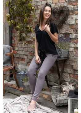 Пижама с брюками SOPHIE BROWN черный+коричневый, Sensis (Польша)
