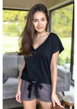 Пижама с шортами SUSAN BROWN черный+коричневый, Sensis (Польша)