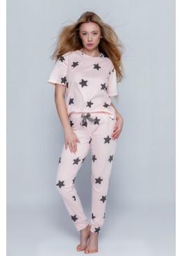 Пижама с брюками Vera персиковый+черный, Sensis (Польша)