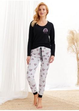 Пижама с брюками 2124 AW20/21 Nora св.серый+черный, Taro (Польша)