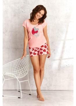 Пижама с шортами 2157 SS21 Eva розовый+красный, Taro (Польша)