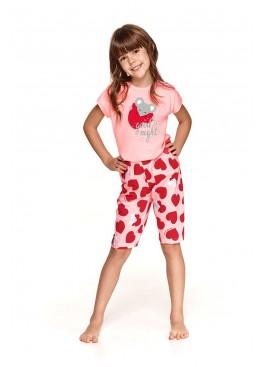 Пижама с бриджами 2202/2203 SS21 Amelia розовый+красный, Taro (Польша)