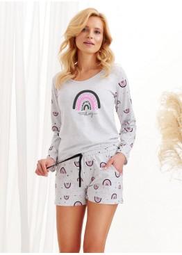 Пижама с шортами 2439-S20/21 Mocca св.серый+розовый, Taro (Польша)