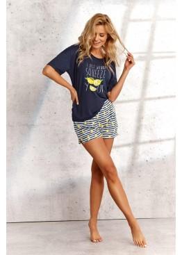 Пижама с шортами 2495 SS21 Lemon т.синий+желтый, Taro (Польша)