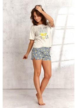 Пижама с шортами 2495 SS21 Lemon св.бежевый+желтый, Taro (Польша)