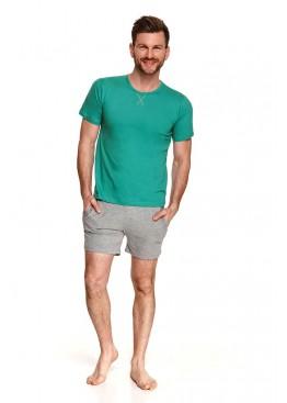Пижама с шортами 2536 SS21 ALBERT зеленый+серый, Taro (Польша)