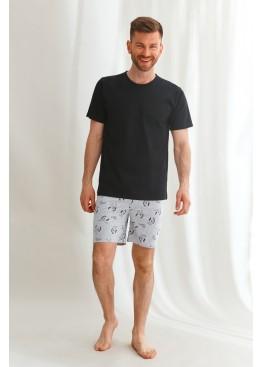 Пижама с шортами 2628 21/22 PETER черный+серый, Taro (Польша)